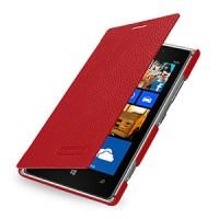 Кожаный чехол горизонтальная книжка (нат. кожа) для Nokia Lumia 925 Красный