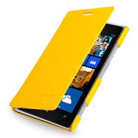 Кожаный чехол горизонтальная книжка (нат. кожа) для Nokia Lumia 925 Желтый