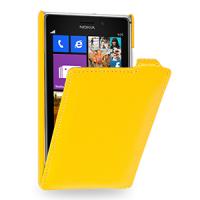 Кожаный чехол вертикальная книжка (нат. кожа) для Nokia Lumia 925 Желтый