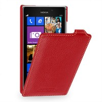 Кожаный чехол вертикальная книжка (нат. кожа) для Nokia Lumia 925 Красный