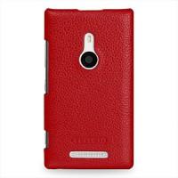 Кожаный чехол-накладка Back Cover (нат. кожа) для Nokia Lumia 925 Красный