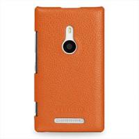 Кожаный чехол-накладка Back Cover (нат. кожа) для Nokia Lumia 925 Оранжевый