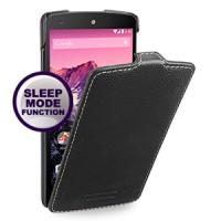 Кожаный чехол смарт книжка вертикальная (нат. кожа) для Google Nexus 5 Черный
