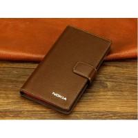 Кожаный чехол горизонтальная книжка (нат. кожа) с крепежной застежкой для Nokia Lumia 1320 Коричневый