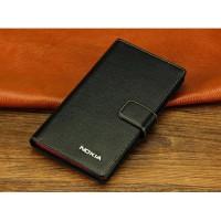 Кожаный чехол горизонтальная книжка (нат. кожа) с крепежной застежкой для Nokia Lumia 1320 Черный