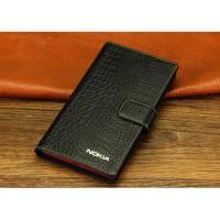 Кожаный чехол портмоне (нат. кожа крокодила) для Nokia Lumia 1320 Черный