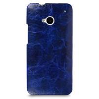 Кожаный эксклюзивный чехол ручной работы Back Cover (цельная телячья кожа) синий для HTC One M7 Dual SIM