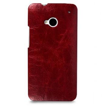 Кожаный эксклюзивный чехол ручной работы Back Cover (цельная телячья кожа) красный для HTC One M7 Dual SIM
