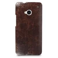 Кожаный эксклюзивный чехол ручной работы Back Cover (цельная телячья кожа) коричневый для HTC One M7 Dual SIM