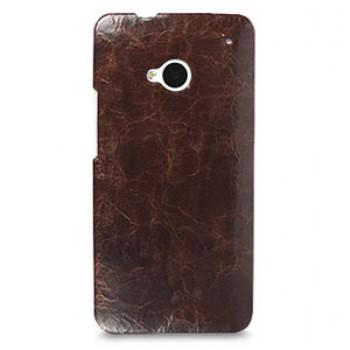 Кожаный эксклюзивный чехол ручной работы Back Cover (цельная телячья кожа) коричневый для HTC One M7