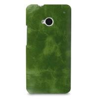 Кожаный эксклюзивный чехол ручной работы Back Cover (цельная телячья кожа) зеленый для HTC One M7 Dual SIM