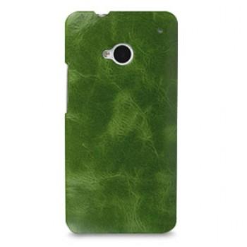 Кожаный эксклюзивный чехол ручной работы Back Cover (цельная телячья кожа) зеленый для HTC One M7
