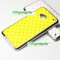Чехол пластик/металл со стразами для HTC One M7 Dual SIM Желтый