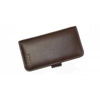 Кожаный чехол портмоне (нат. кожа) для HTC One Mini Коричневый