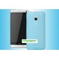 Пластиковый полупрозрачный чехол для HTC One Mini Голубой
