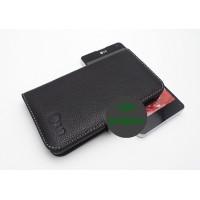 Кожаный чехол портмоне (нат. кожа) для LG Optimus G Черный
