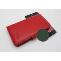 Кожаный чехол портмоне (нат. кожа) для LG Optimus G Красный