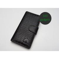 Кожаный чехол портмоне (нат. кожа крокодила) для Huawei Ascend P6 Черный
