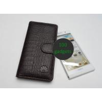 Кожаный чехол портмоне (нат. кожа крокодила) для Huawei Ascend P6 Коричневый