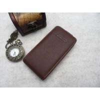 Кожаный чехол книжка вертикальная (нат. кожа) для Lenovo Ideaphone P770 Коричневый