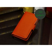 Кожаный чехол портмоне (нат. кожа) для Lenovo P780 Ideaphone Оранжевый