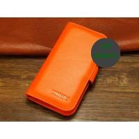 Кожаный чехол портмоне (нат. кожа) для Philips W6610 Xenium Оранжевый