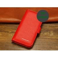 Кожаный чехол портмоне (нат. кожа) для Philips W6610 Xenium Красный