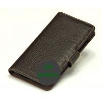 Кожаный чехол портмоне (нат. кожа крокодила) для Philips W6610 Xenium Коричневый