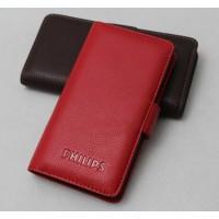 Кожаный чехол портмоне (нат. кожа) для Philips Xenium W8555 Красный
