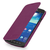 Кожаный чехол горизонтальная книжка (нат. кожа) для Samsung Galaxy S4 Active Фиолетовый