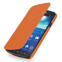 Кожаный чехол горизонтальная книжка (нат. кожа) для Samsung Galaxy S4 Active Оранжевый