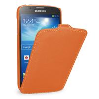 Кожаный чехол вертикальная книжка (нат. кожа) для Samsung Galaxy S4 Active Оранжевый