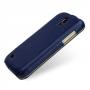 Эксклюзивный кожаный чехол (кожа ручного плетения) для Samsung Galaxy S4 Mini синяя/оранжевая