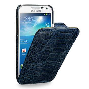 Эксклюзивный кожаный чехол (нат. кожа змеи) для Samsung Galaxy S4 Mini синяя