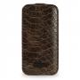 Эксклюзивный кожаный чехол (нат. кожа змеи) для Samsung Galaxy S4 Mini коричневая