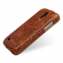 Эксклюзивный кожаный чехол (нат. кожа змеи) для Samsung Galaxy S4 Mini бежевая