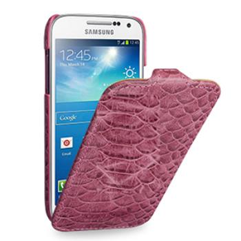 Эксклюзивный кожаный чехол (нат. кожа змеи) для Samsung Galaxy S4 Mini розовая