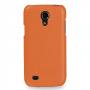 Кожаный чехол (нат. кожа) Back Cover для Samsung Galaxy S4 Mini оранжевый