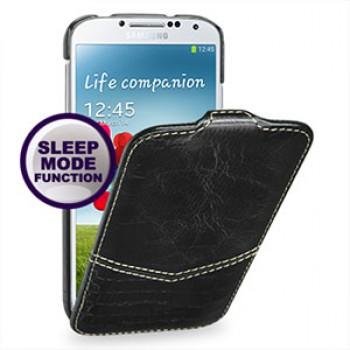 Кожаный эксклюзивный чехол ручной работы (2 вида кожи) для Samsung Galaxy S4 черный