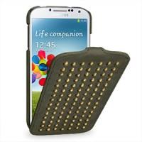 Кожаный эксклюзивный чехол ручной работы (металлизированная кожа) для Samsung Galaxy S4 серый