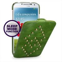 Кожаный эксклюзивный чехол ручной работы (металлизированная кожа) для Samsung Galaxy S4 зеленый