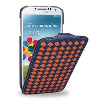 Кожаный эксклюзивный чехол (кожа ручного плетения) для Samsung Galaxy S4 синий/оранжевый