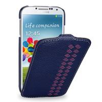 Кожаный эксклюзивный чехол (кожа ручного плетения) для Samsung Galaxy S4 синий/фиолетовый