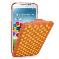Кожаный эксклюзивный чехол (кожа ручного плетения) для Samsung Galaxy S4 оранжевый