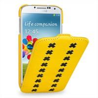 Кожаный эксклюзивный чехол (кожа ручного плетения) для Samsung Galaxy S4 желтый