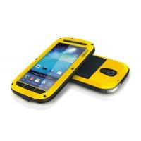Ультрапротекторный пылеводоударостойкий чехол металл/стекло для Samsung Galaxy S4 Желтый