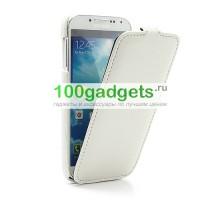 Кожаный чехол книжка для Galaxy S4 белая