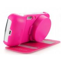 Чехол флип Full Photo Cover с окном вызова и свайпом для Samsung Galaxy S4 Zoom Розовый