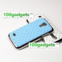 Пластиковый чехол с металлическим напылением и стразами для Samsung Galaxy S4 Mini Голубой