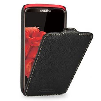 Кожаный чехол книжка вертикальная (нат. кожа) для Lenovo S820 Ideaphone